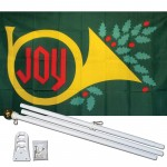 Joy Christmas 3' x 5' Polyester Flag, Pole and Mount
