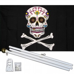 Sugar Skull and Crossbones 3' x 5' Polyester Flag, Pole and Mount