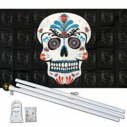 Sugar Skull Teal 3' x 5' Polyester Flag, Pole and Mount