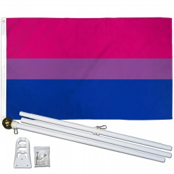 Bi Pride 3' x 5' Polyester Flag, Pole and Mount