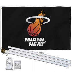 Miami Heat 3' x 5' Polyester Flag, Pole and Mount