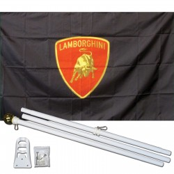 Lamborghini Red Shield 3' x 5' Polyester Flag, Pole and Mount
