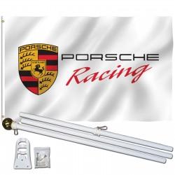 Porsche Racing White 3' x 5' Polyester Flag, Pole and Mount