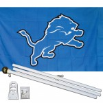 Detroit Lions Mascot 3' x 5' Polyester Flag, Pole and Mount