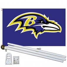 Baltimore Ravens Mascot 3' x 5' Polyester Flag, Pole and Mount
