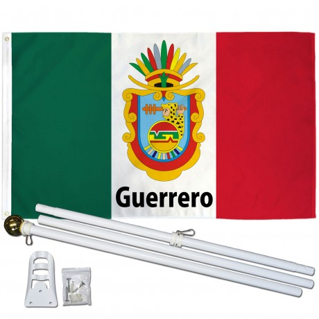 Guerrero Mexico State 3' x 5' Polyester Flag, Pole and Mount