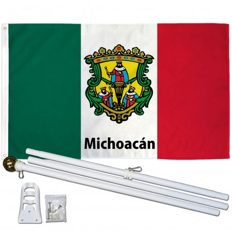 Michoacán Mexico State 3' x 5' Polyester Flag, Pole and Mount