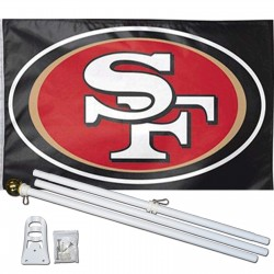 San Francisco 49ers Black 3' x 5' Polyester Flag, Pole and Mount