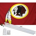 Washington Redskins Mascot 3' x 5' Polyester Flag, Pole and Mount
