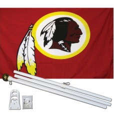 Washington Redskins Mascot 3' x 5' Polyester Flag, Pole and Mount