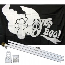 Ghost Boo 3' x 5' Polyester Flag, Pole and Mount