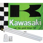 Kawasaki Green 3' x 5' Polyester Flag, Pole and Mount