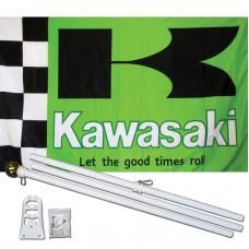 Kawasaki Green 3' x 5' Polyester Flag, Pole and Mount