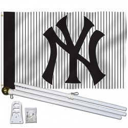 New York Yankees Stripes 3' x 5' Polyester Flag, Pole and Mount