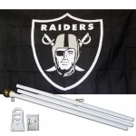 Oakland Raiders Shield 3' x 5' Polyester Flag, Pole and Mount