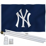 New York Yankees Blue 3' x 5' Polyester Flag, Pole and Mount