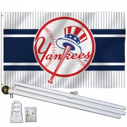 New York Yankees Logo 3' x 5' Polyester Flag, Pole and Mount