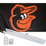 Baltimore Orioles 3' x 5' Polyester Flag, Pole and Mount