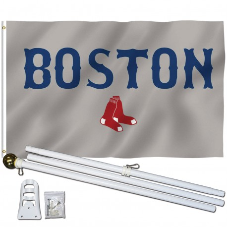 Boston Red Sox Gray 3' x 5' Polyester Flag, Pole and Mount