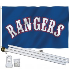 Texas Rangers 3' x 5' Polyester Flag, Pole and Mount