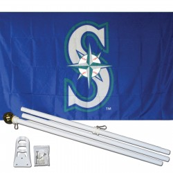 Seattle Mariners 3' x 5' Polyester Flag, Pole and Mount