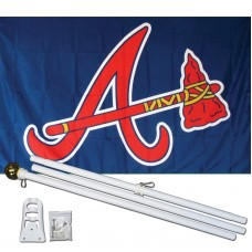 Atlanta Braves 3' x 5' Polyester Flag, Pole and Mount