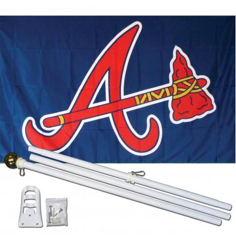 Atlanta Braves 3' x 5' Polyester Flag, Pole and Mount
