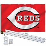 Cincinnati Reds 3' x 5' Polyester Flag, Pole and Mount