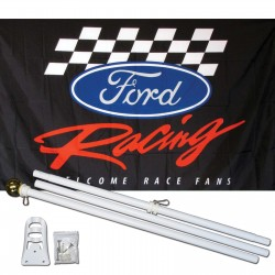 Ford Racing 3' x 5' Polyester Flag, Pole and Mount