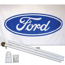 Ford White 3' x 5' Polyester Flag, Pole and Mount