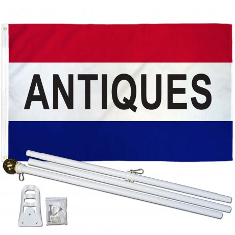 Antiques Patriotic 3' x 5' Polyester Flag, Pole and Mount
