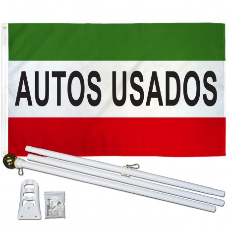 Autos Usados 3' x 5' Polyester Flag, Pole and Mount