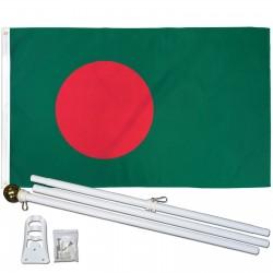 Bangladesh 3' x 5' Polyester Flag, Pole and Mount