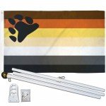 Rainbow Male Bear Pride 3' x 5' Polyester Flag, Pole and Mount