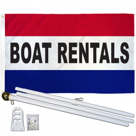Boat Rentals Patriotic 3' x 5' Polyester Flag, Pole and Mount