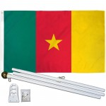 Cameroon 3' x 5' Polyester Flag, Pole and Mount