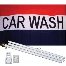 Car Wash Patriotic 3' x 5' Polyester Flag, Pole and Mount