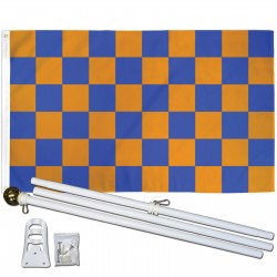 Checkered Blue & Orange 3' x 5' Polyester Flag, Pole and Mount