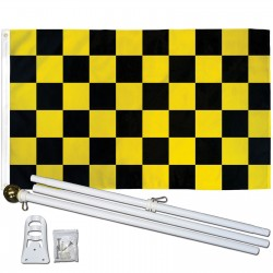 Checkered Black & Yellow 3' x 5' Polyester Flag, Pole and Mount