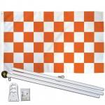 Checkered Orange & White 3' x 5' Polyester Flag, Pole and Mount
