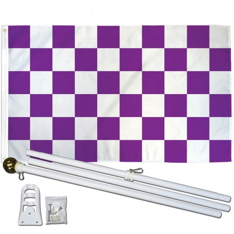 Checkered Purple & White 3' x 5' Polyester Flag, Pole and Mount
