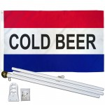 Cold Beer 3' x 5' Polyester Flag, Pole and Mount