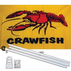 Crawfish 3' x 5' Polyester Flag, Pole and Mount