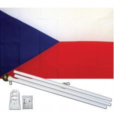 Czech Republic Country 3' x 5' Polyester Flag, Pole and Mount