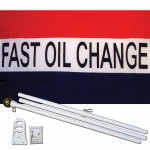 Fast Oil Change Patriotic 3' x 5' Polyester Flag, Pole And Mount