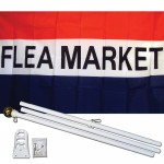 Flea Market Patriotic 3' x 5' Polyester Flag, Pole and Mount