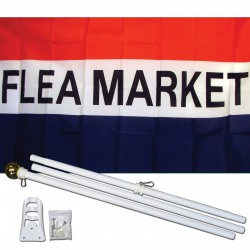 Flea Market Patriotic 3' x 5' Polyester Flag, Pole and Mount