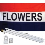 Flowers Patriotic 3' x 5' Polyester Flag, Pole and Mount