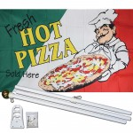 Fresh Hot Pizza 3' x 5' Polyester Flag, Pole and Mount