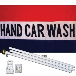 Hand Car Wash 3' x 5' Polyester Flag, Pole and Mount